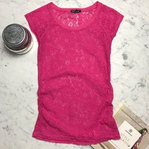 One Step Up Pink Lace Short Sleeve Sheer Top Shirt